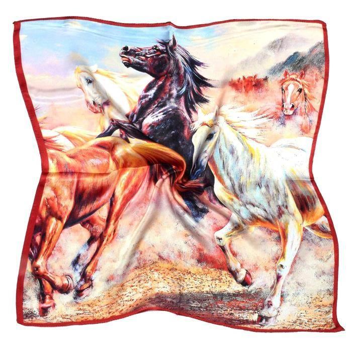 Serre-Tete Professionnel JVE1R Brown White Horses Imprimé épais Petit Carré de soie