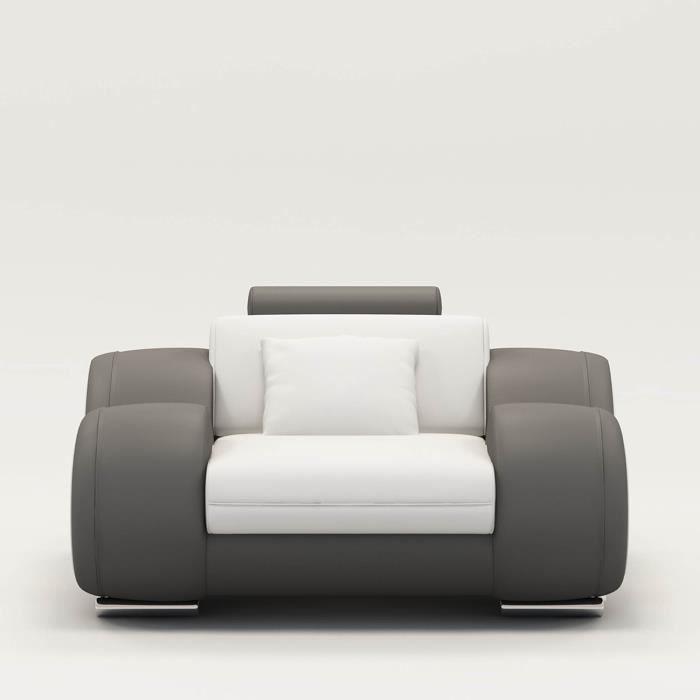 Fauteuil cuir relax design blanc et gris OSLO