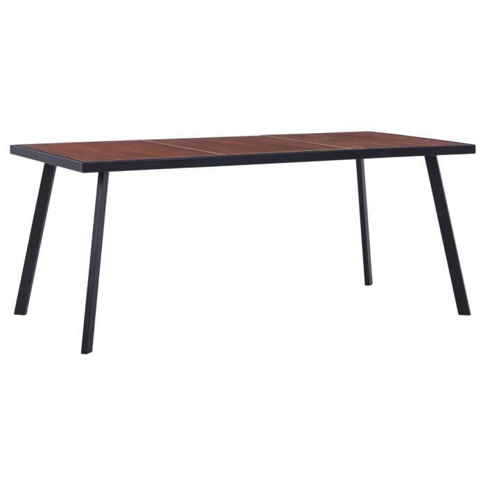 YUY Table de salle à manger Bois foncé et noir 180x90x75 cm MDF