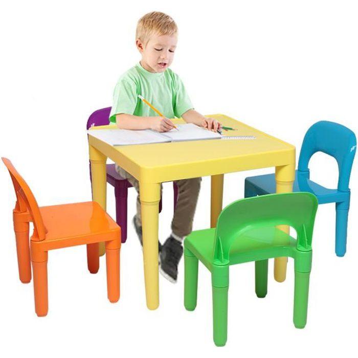 Ensemble Table Enfant et 4 Chaises Pour Jouer, Manger, Travailler - 50x50x46cm