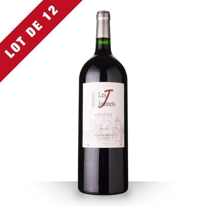 Lot de 12 - Magnum Château Les Jamnets 2016 AOC Graves - 12x150cl - Vin Rouge
