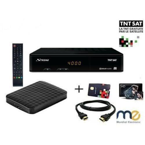 Pack Récepteur Strong SRT 7404 , Démodulateur Satellite HD TNTSAT, Noir, Haute définition avec Disque Dur Externe Extra Slim 1 TO