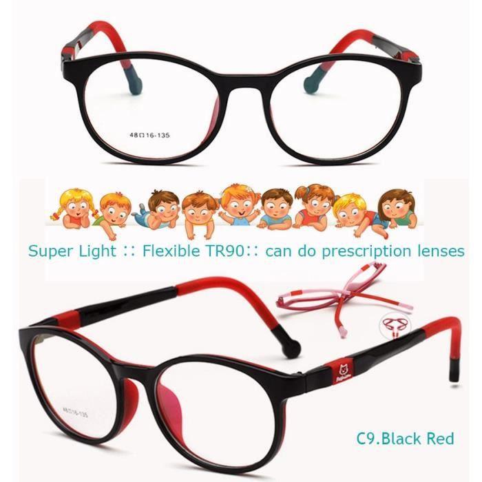 Montures de Lunettes de vue,IVSTA lunettes de Prescription pour enfants Avec sangle ronde TR90, lunettes myopie - Type Black Red