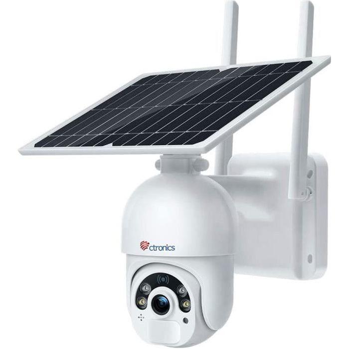 Caméra Surveillance Solaire WiFi avec Panneau Solaire Ctronics Caméra IP sans Fil Extérieure sur Batterie 14400mAh Double Détecteurs