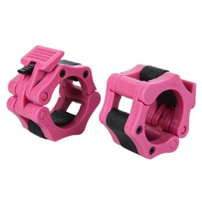 Power Bague de Serrage 2 Pièces Collier de Blocage Bague pour Haltère Haltérophilie Musculation Matériel ABS 50mm - rose