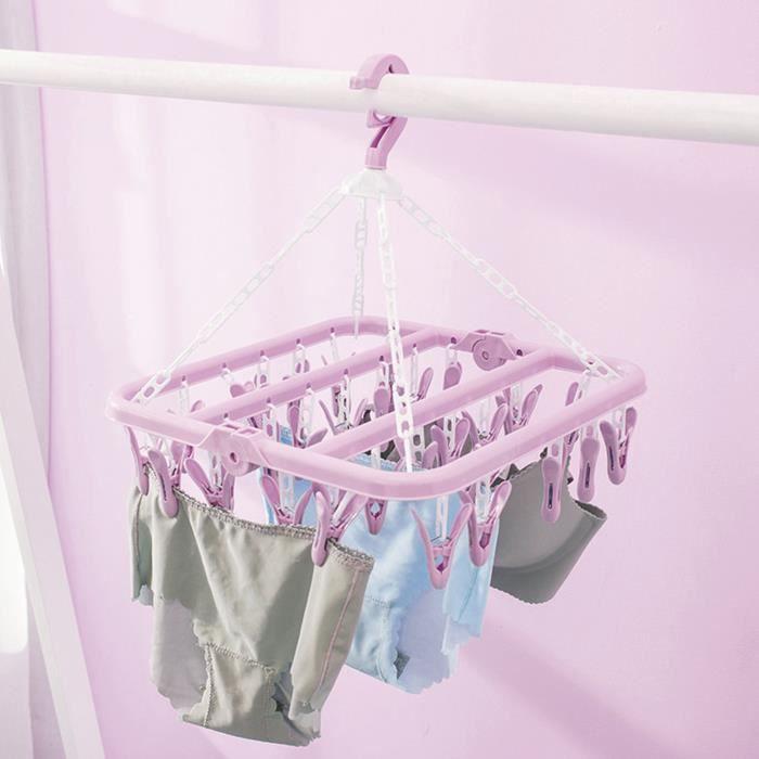 Qiilu cintre chaussettes Cintre à linge avec 32 clips support de séchage en pince à linge pliable pour chaussettes