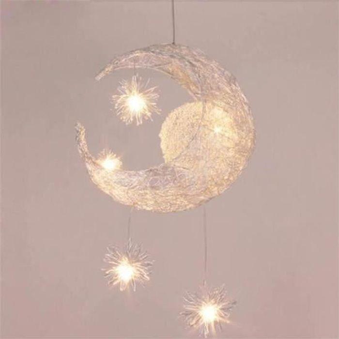 Suspension Décorative Lune Etoile Lustre En Aluminium Lampe Pour Enfant Chambre Café Salon Cabinet De Travail