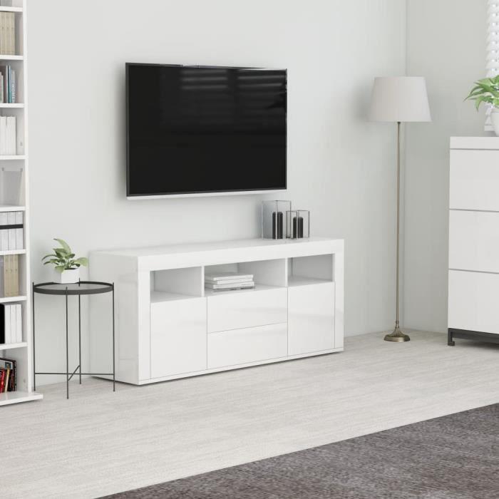 Meuble TV Blanc brillant 120x30x50 cm Aggloméré