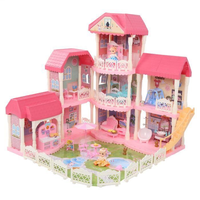 Maison de poupée Enfants maison de poupée bricolage semblant jouer maison de poupée assemblage jouets de construction avec HB045