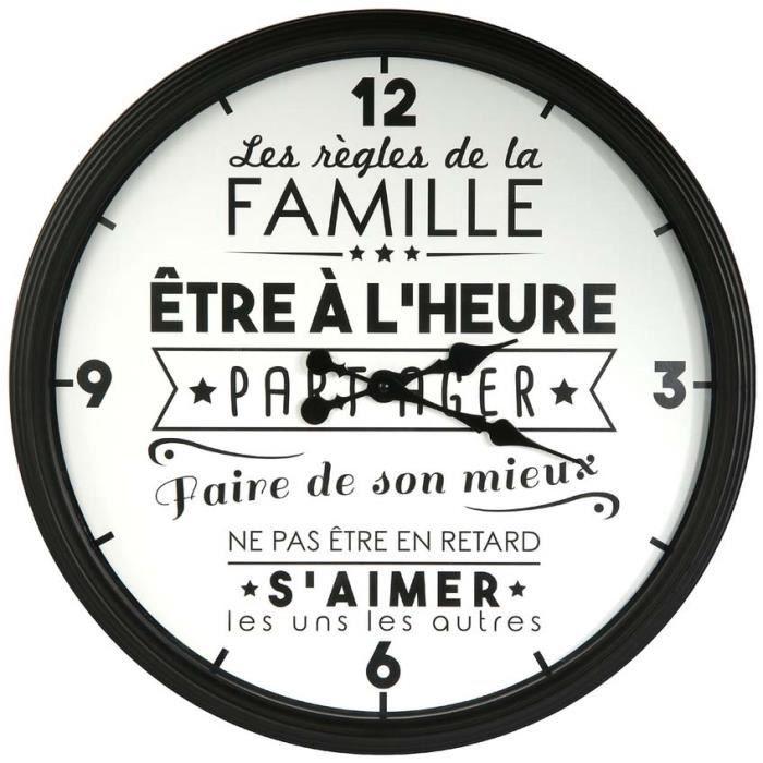 The Home Deco Factory HD4680 Horloge murale ronde La vie en famille Polypropylène Blanc et noir D49x6cm