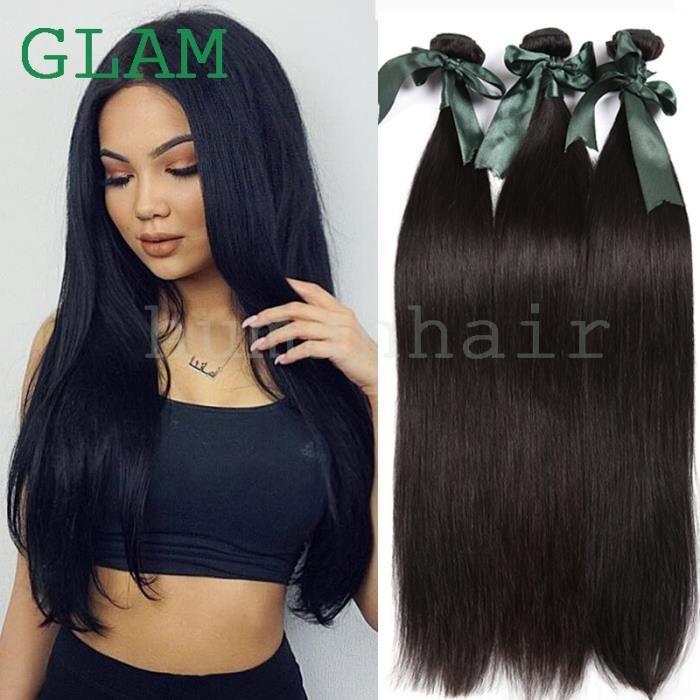 3 paquet Meche péruvien Tissage Extensions Cheveux Naturel Noir Naturel 100g - 10 Pouces Virgin lisse Human Hair