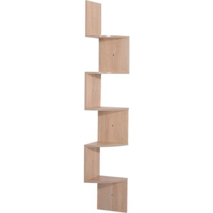Étagère d'angle étagère de rangement design contemporain zig zag 20L x 20l x 126H cm 5 niveaux panneaux de particules chêne clair