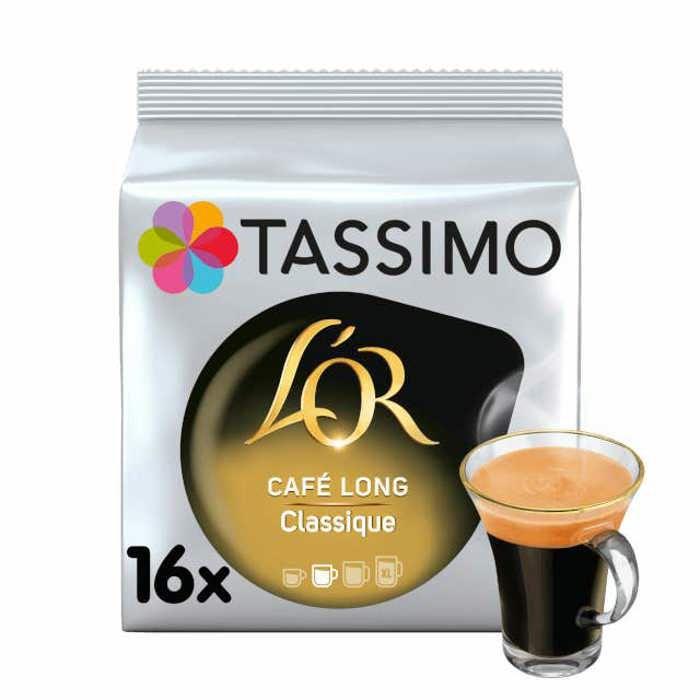 TASSIMO Café dosettes L'Or Café Long Classique - Lot de 5 x 16 boissons