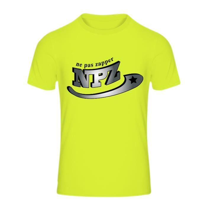 Maillot - Tee shirt enfant Sport NPZ anti transpirant 100% polyester jaune fluo Taille de 7 à 13 ans