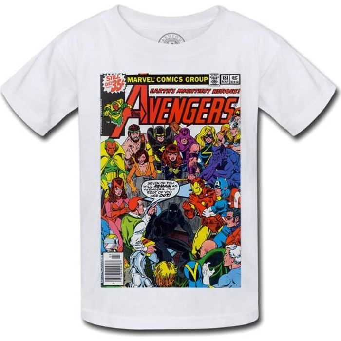 T-shirt Enfant Avengers Marvel Couverture BD Comics Super Hero Vintage