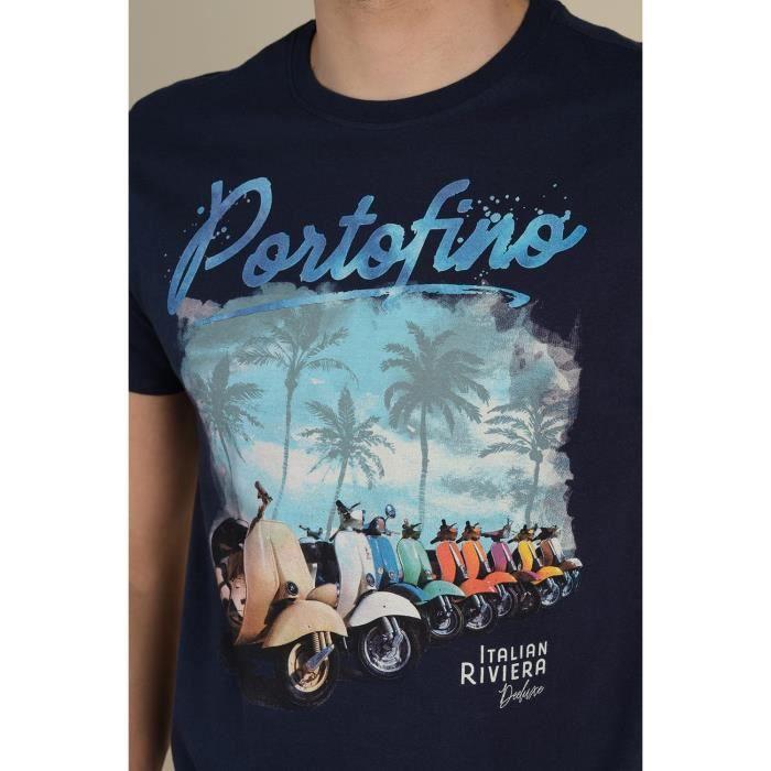 DEELUXE T-shirt manches courtes à imprimés PORTOFINO Navy