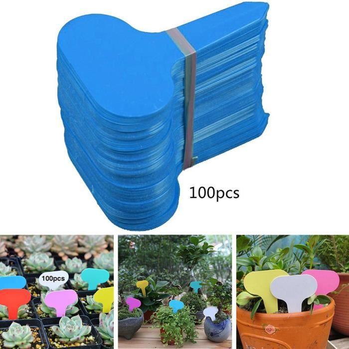 100 Pièces Étiquettes de Plante en Bambou avec Stylo pour Signature de Plantes de Jardin (T-Type ) - Bleu~P°