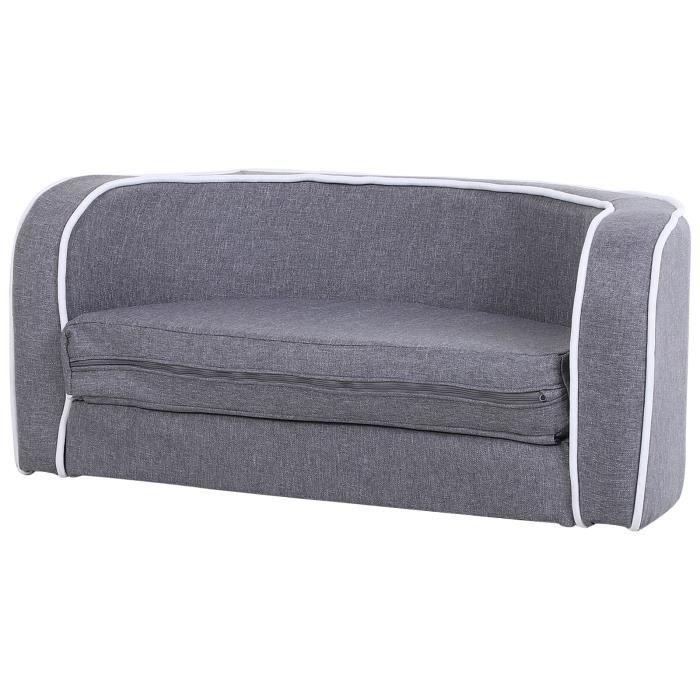 Canapé chien lit pour chien chat grand confort coussin moelleux extensible dim. 75L x 40l x 31H cm lin gris 75x40x31cm Gris