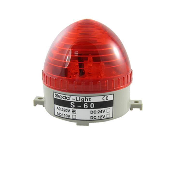 AC 220V rouge LED Clignotant Lampe Signal Industriel Tour Avertissement Lumière