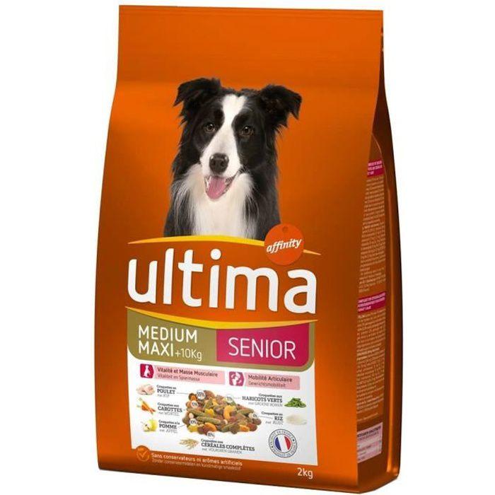 Ultima Croquettes Senior Chiens Medium Maxi +10 Kg Poulet Carottes Pomme Haricots Riz Format 2Kg (lo