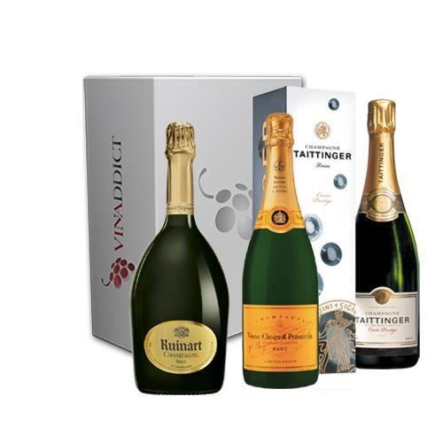 Vinaddict - Coffret Cadeau Champagne Prestige5-3 Bouteilles 75Cl - R de Ruinart, Veuve Clicquot, Taittinger.