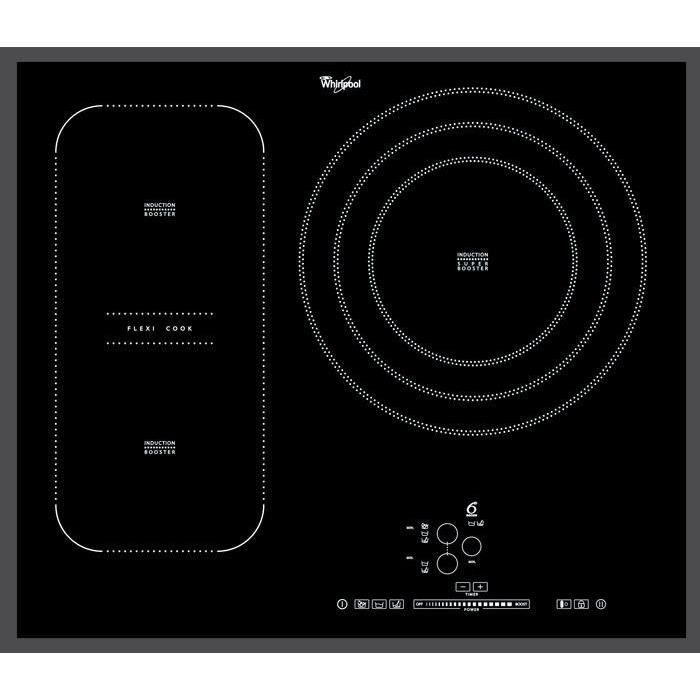 WHIRLPOOL ACM846BA - Table de cuisson à Induction - 3 zones - 7400W - L65 x P51cm - Revêtement verre - Noir