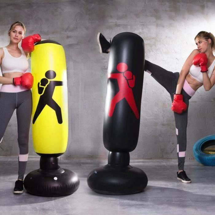 KL22093-Punching Colonne de Boxe 1.6M Gonflable sac de Frappe - noir