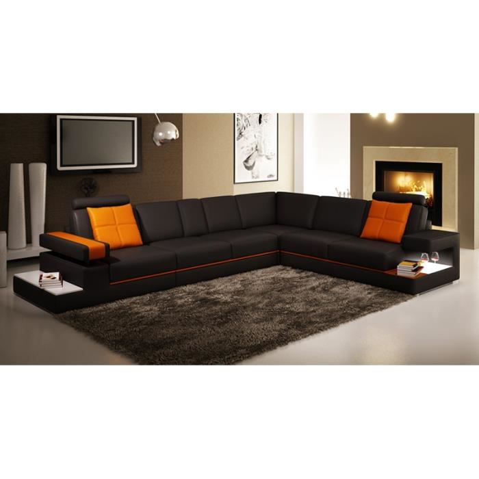 canap d 39 angle contemporain noir et orange light achat. Black Bedroom Furniture Sets. Home Design Ideas