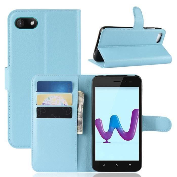 Etui Coque Wiko Sunny 3 Bleu en PU Cuir avec protection antichoc Support fonction Pochette téléphone