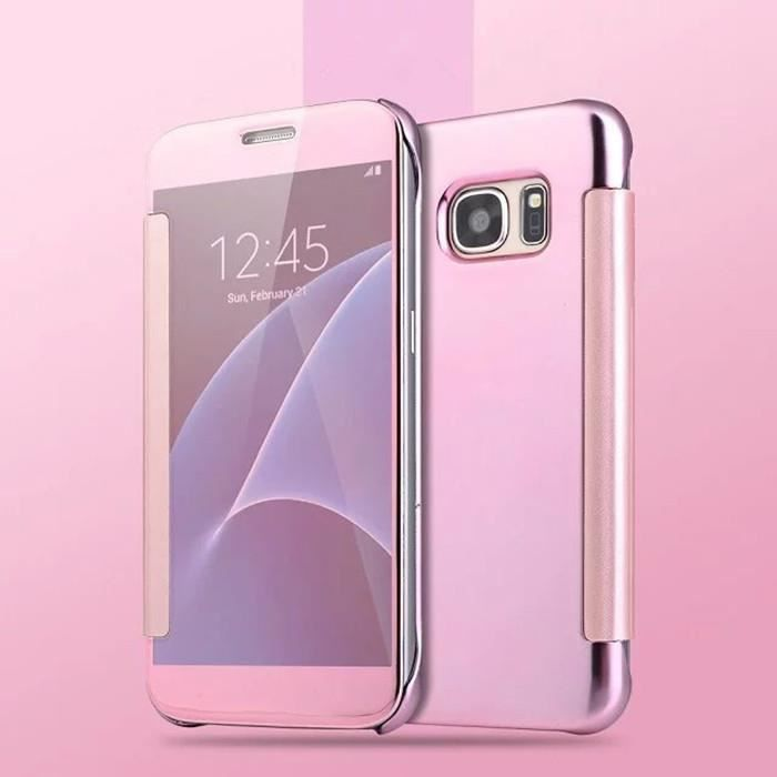 etui clear view cover pour samsung galaxy s7 rose achat housse tui pas cher avis et. Black Bedroom Furniture Sets. Home Design Ideas