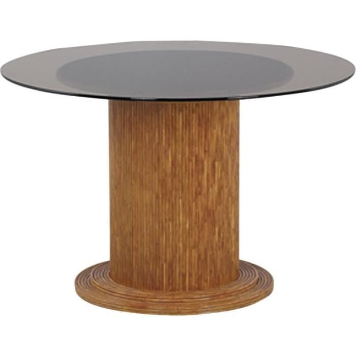 Table ronde en verre 120 cm pied de table en rotin for Table ronde rotin plateau verre