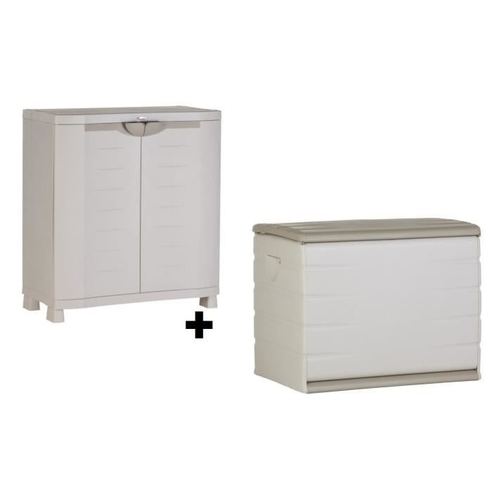 plastiken coffre en r sine 260l vide et armoire basse de rangement achat vente etabli. Black Bedroom Furniture Sets. Home Design Ideas