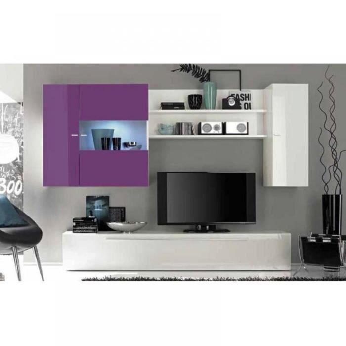 composition murale tv design primera blanc et l achat vente meuble tv composition murale. Black Bedroom Furniture Sets. Home Design Ideas