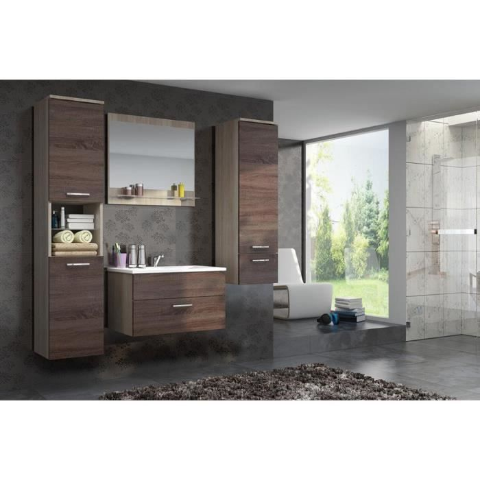 justhome dela ensemble salle de bain 4 pi ces couleur sonoma chocolat sonoma achat. Black Bedroom Furniture Sets. Home Design Ideas