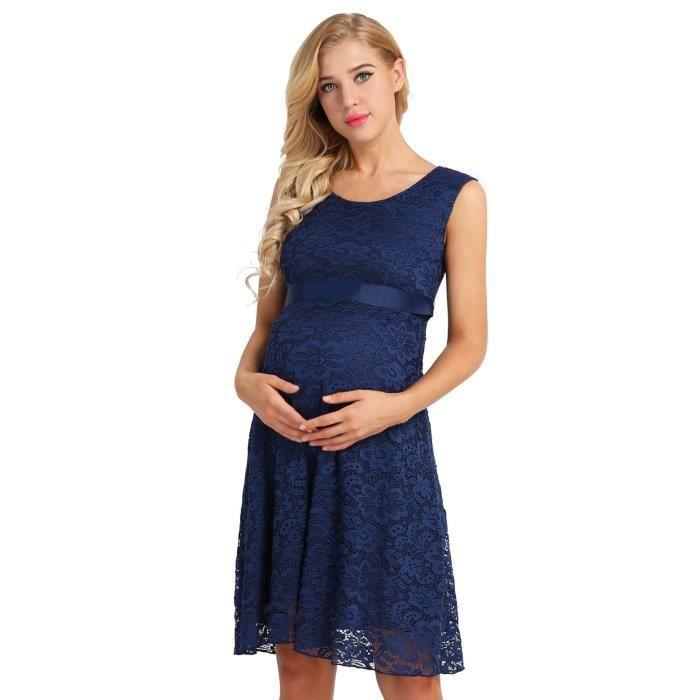 Robe Femme Enceinte Ete Longue Sans Manche Maternite Floral Dentelle Photographie Bleu Achat Vente Robe Cdiscount