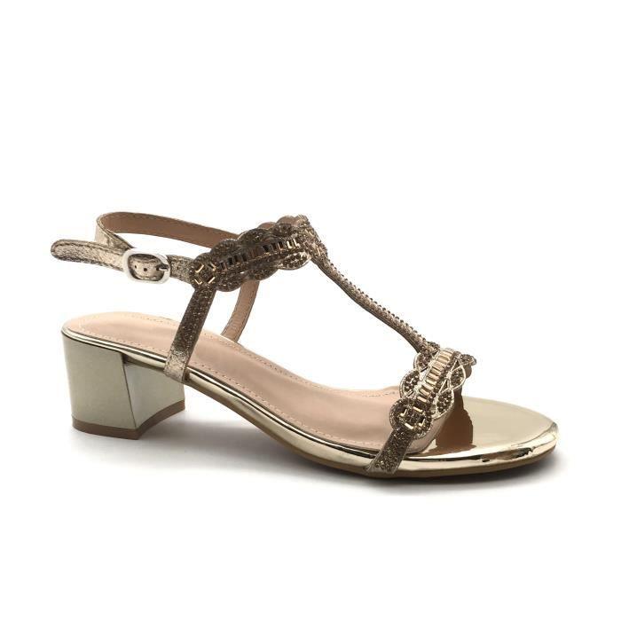 lanière Talon doré petits haut soirée CM Chaussure talons salomés Sandale femme Angkorly métallique bloc FN502 strass Mode 5 4A3jLcRS5q