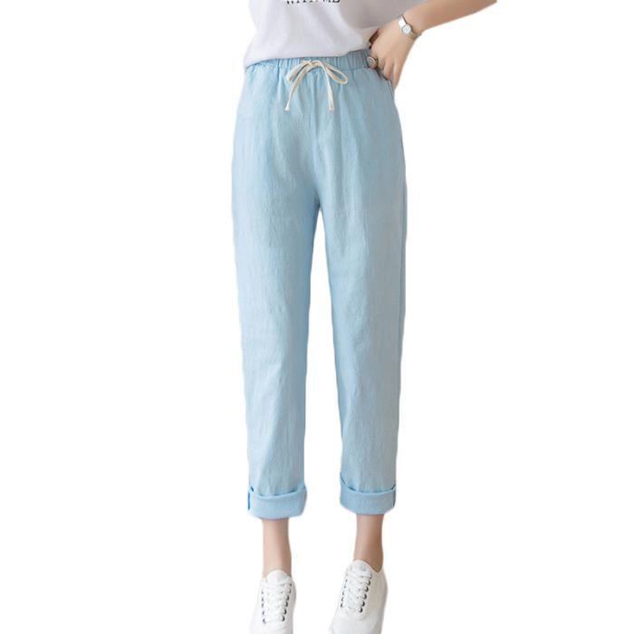 Pantalon Femme 7-8 Léger Taille Haute Elastiquee