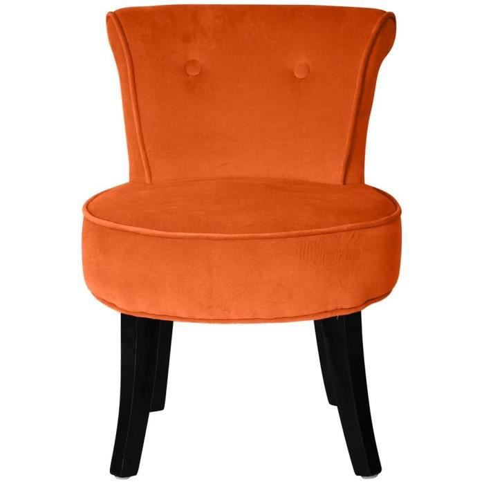 petit fauteuil crapaud velours orange louis achat vente fauteuil orange cdiscount. Black Bedroom Furniture Sets. Home Design Ideas