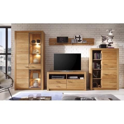 ensemble meuble tv design en bois de chene avec eclairage. Black Bedroom Furniture Sets. Home Design Ideas