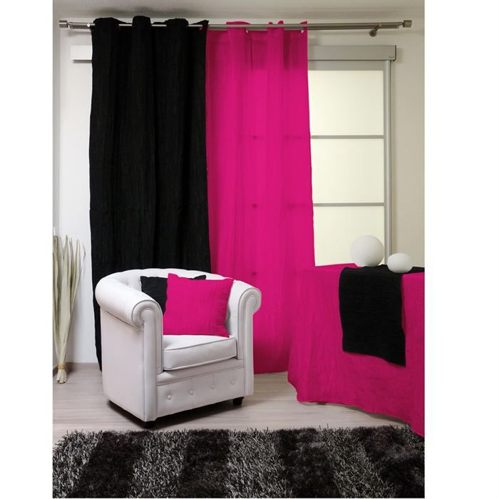rideaux oeillets bambou framboise achat vente rideau bambou polyester polyamide m tal. Black Bedroom Furniture Sets. Home Design Ideas