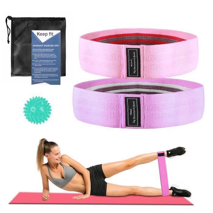 Tissu bandes de résistance Hip Cercle GLUTE élastique exercice boucle antidérapante Set
