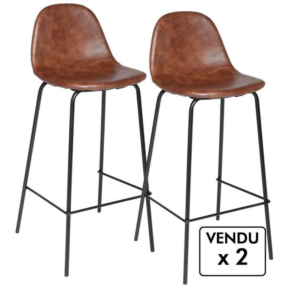 lot de 2 chaises de bar style industriel coloris marron vieilli achat vente tabouret de. Black Bedroom Furniture Sets. Home Design Ideas