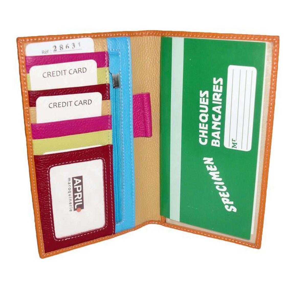 Rouge Compact et Souple LOLUNA Porte ch/équier Talon en Haut Cuir Disponible dans Plusieurs Couleur Format Portefeuille avec 3 Cartes bancaire
