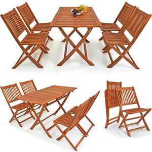 Ensemble table et chaise de jardin Deuba | Ensemble de Jardin 4+1 • en Bois d'acacia