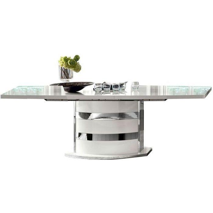 MAXIMUS LAQUE BLANC BRILLANT SÉJOUR SALLE A MANGER CONTEMPORAIN : La Table Repas Rectangulaire Allonge