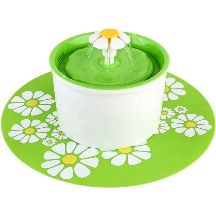 Mellifluous Fontaine à Eau pour Chat et Chine Fleur avec Filtre 1.6L Vert Avec Tapis Vert