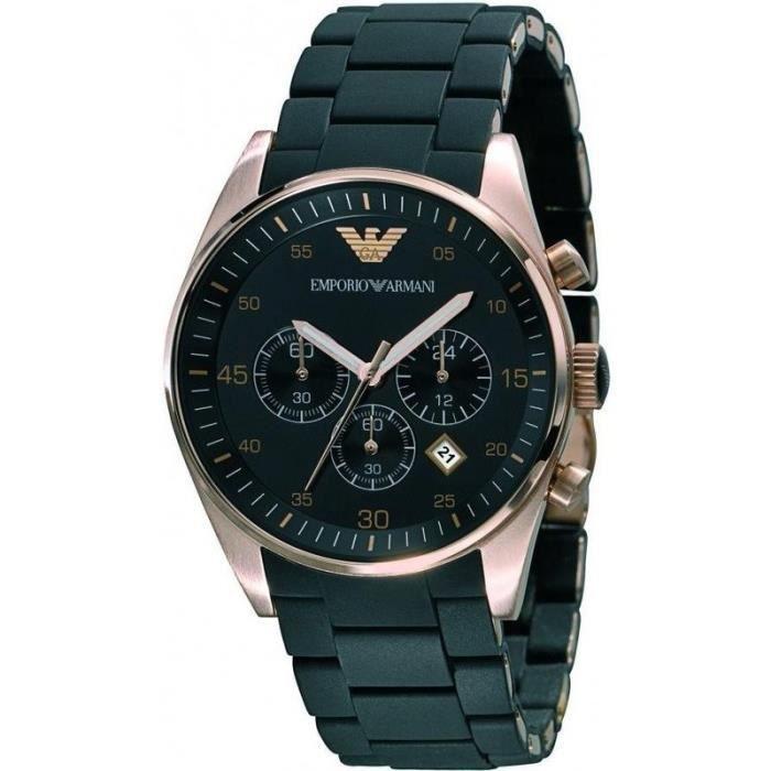 ARMANI JEANS Montre bracelet Homme AR5905 - Quartz - Analogique - Acier - Noir