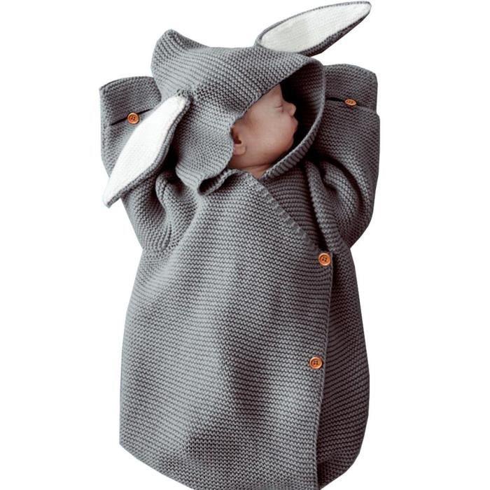 Sac de Couchage Bébé Tricot Couverture de Bébé Accessoires Fille Nid bébé Colis Tricot Oreilles de Lapin