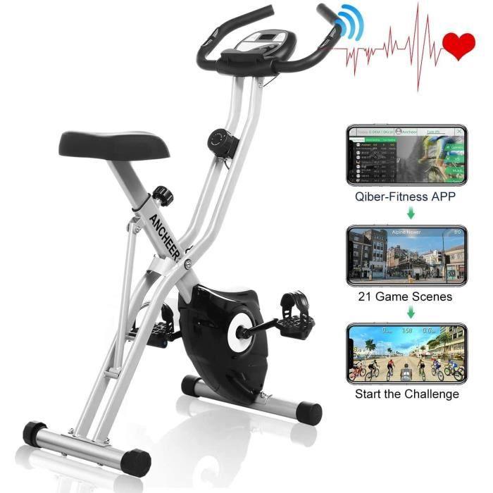 ANCHEER Vélo d'Appartement Pliable Vélo d'Exercice APP 10 Niveaux de Resistance magnétique, Vélo de Fitness avec Support pour Tablet