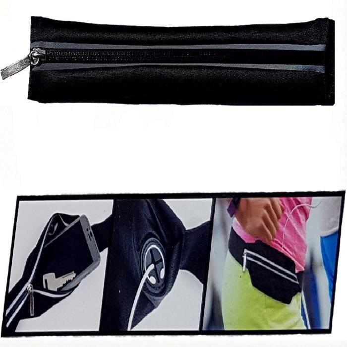 Sacoche Ceinture banane Poche extensible Voyage jogging Sport sac pochette noire